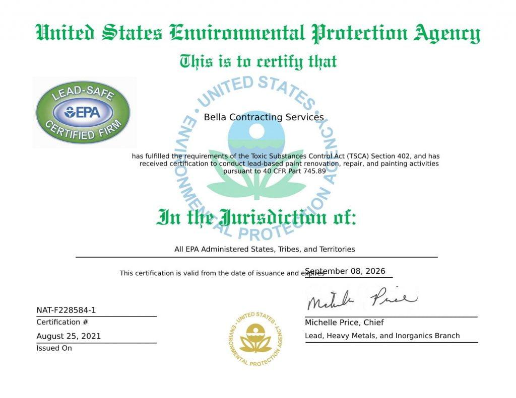 EPA Lead Based Paint Renovation certificate